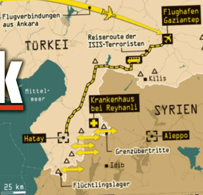 Haritadaki yerler IŞİD'in Türkiye'deki ağını gösteriyor. IŞİD teröristleri Gaziantep Havalimanı üzerinden Hatay sınırına ve Suriye sınırına gizlice giriyorlar.