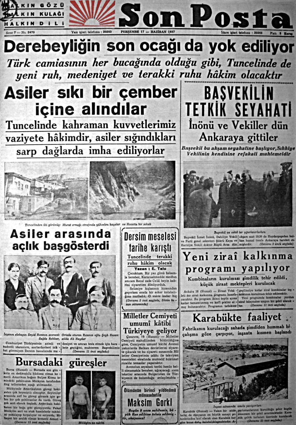 Son Posta gazetesi'nin 17 Haziran 1937 Perşembe tarihli sayısı