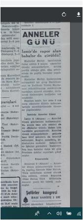 Türkiye'de ilk kez 9 Mayıs 1955 tarihinde kutlanan anneler günü, aynı günün Akşam Gazetesi sütunlarına böyle yansımış.