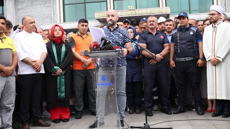 Ekrem İmamoğlu'ndan İBB önünde bildiri okuyan personelle ilgili açıklama
