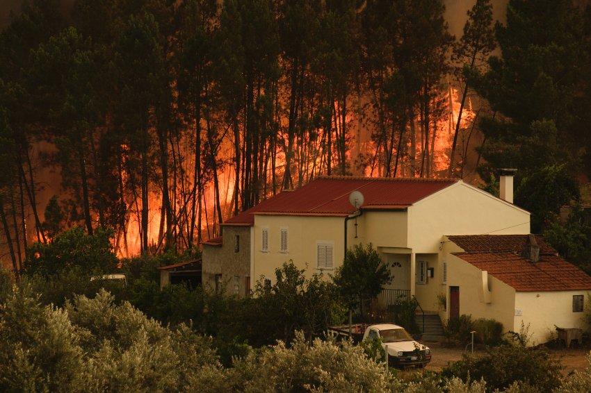 Bölgenin civarında yer alan evler için alevler tehlikeli hale geldi.