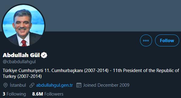 2.Abdullah Gül – 8 milyon 584 bin