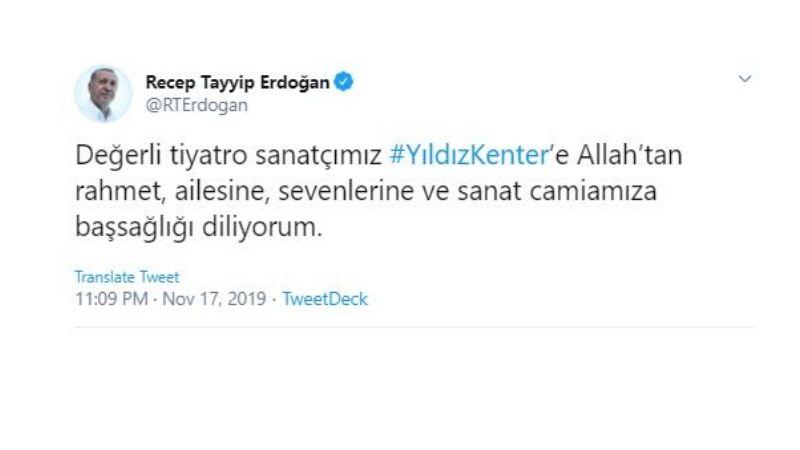 Erdoğan Yıldız Kenter mesajı