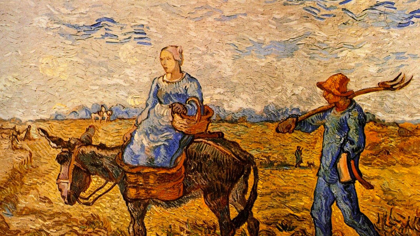Vincent Van Gogh, Çalışmaya giden köylü çift tablosu, 1890