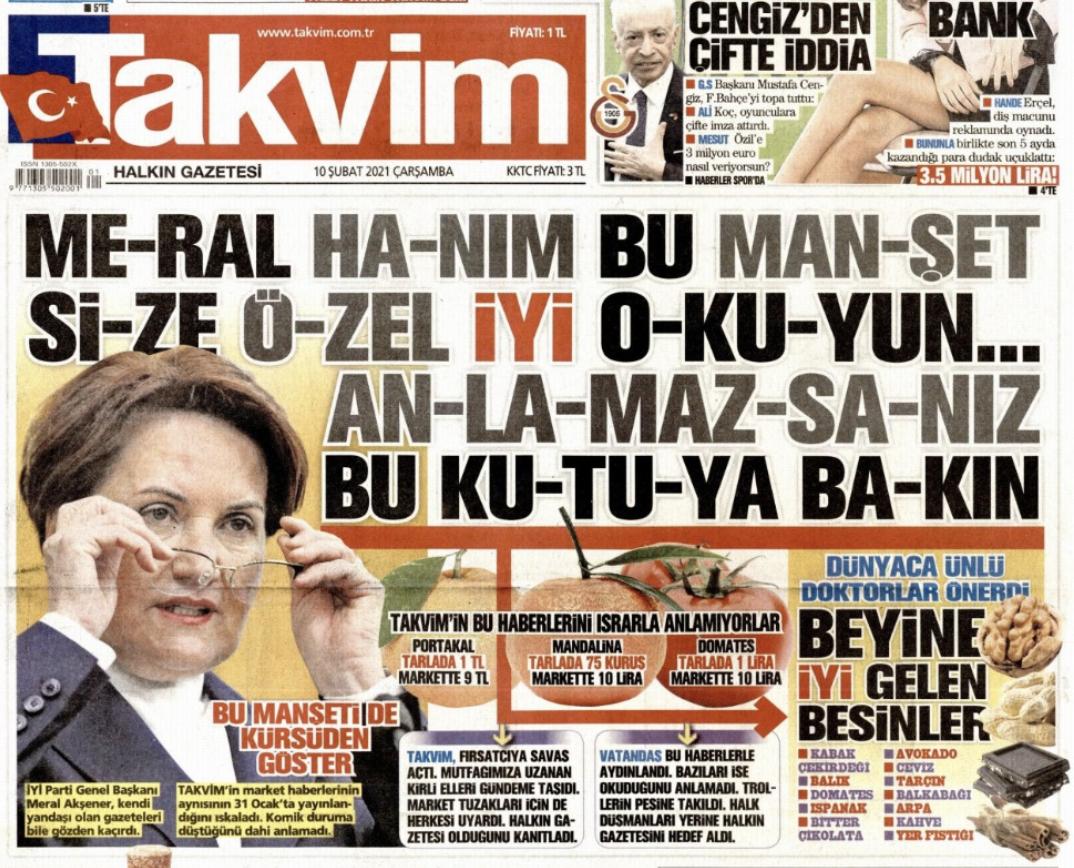 Takvim gazetesinden Akşener'e: Bu manşeti anlamazsanız 'beyne iyi gelen besinler'i okuyun ile ilgili görsel sonucu