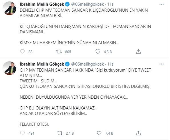 Melih Gökçek: Teoman Sancar'ın istifası onurlu değil, nedeni duyulduğunda  yer yerinden oynayacak