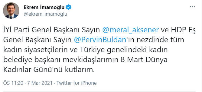 İmamoğlu: Meral Akşener ve Pervin Buldan'ın nezdinde tüm kadın  siyasetçilerin 8 Mart Dünya Kadınlar Günü'nü kutlarım