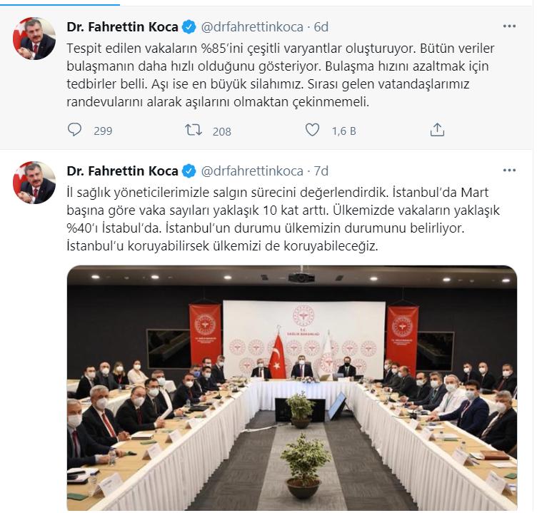 Sağlık Bakanı Koca: İstanbul'da Mart başına göre vaka sayıları yaklaşık 10  kat arttı