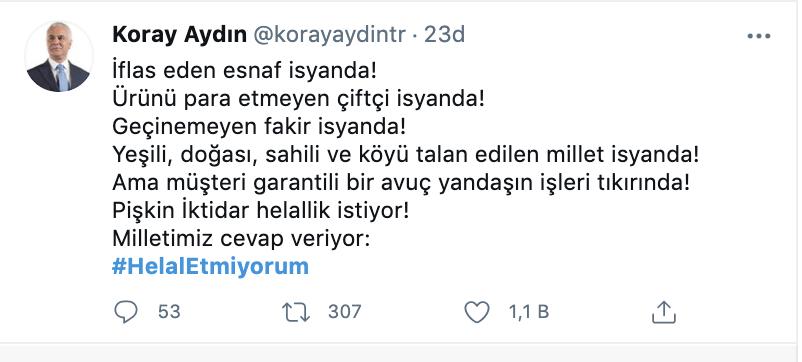 Erdoğan 'helallik' istedi; Twitter'da #HelalEtmiyorum etiketi Twitter Trend Topic listesinde birinci oldu
