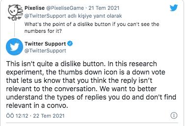 Twitter paylaşımlara verilen yanıtları olumlu/olumsuz oylayacak bir teste  başladığını duyurdu