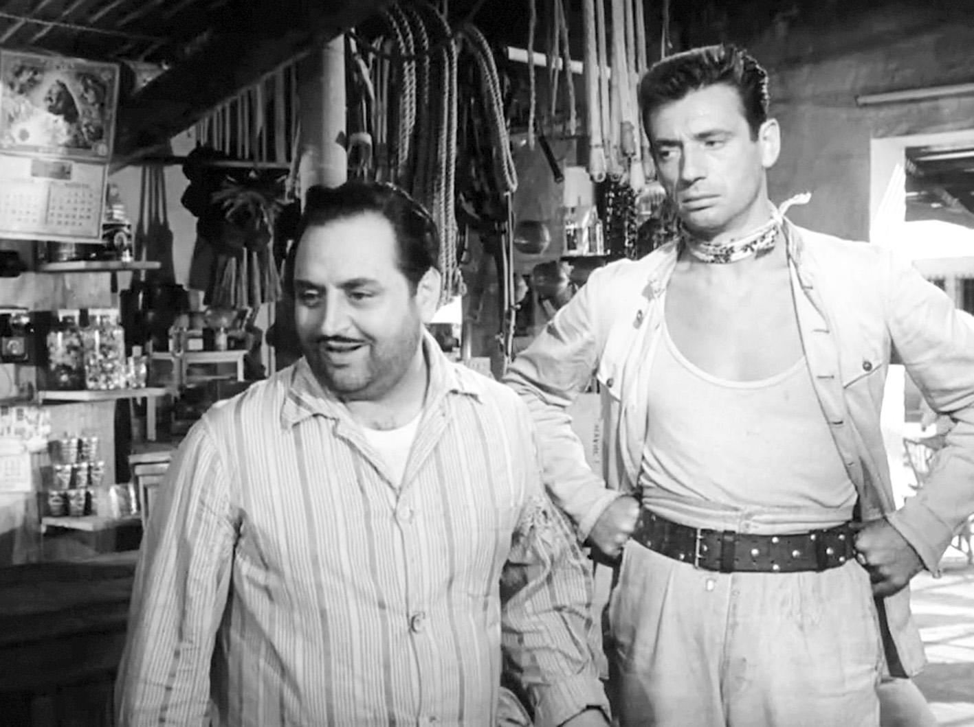 Ünlülerle 84: Dario Moreno ve Yves Montand, Le Salaire de la Peur (Korkunun Bedeli) filminin bir sahnesinde.