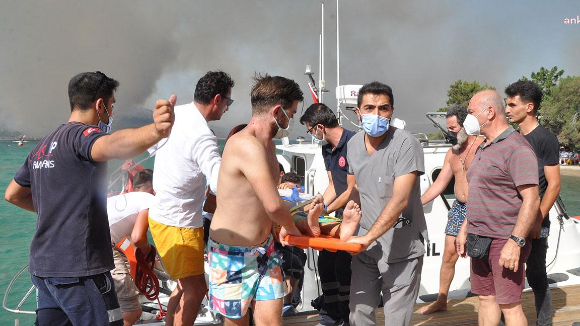 Bodrum'daki orman yangınında otellerden yaklaşık 3 bin kişi, deniz yoluyla tahliye edildi