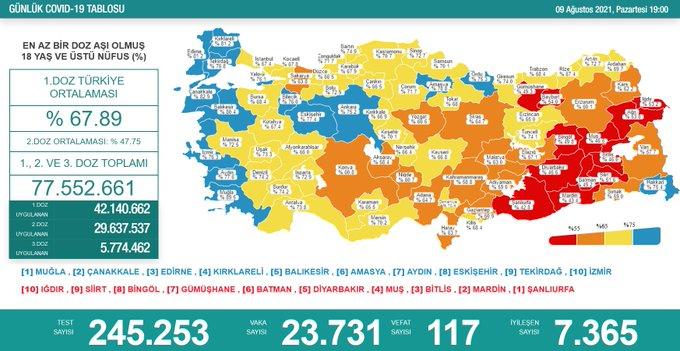 Türkiye'de Koronavirüs | 117 kişi daha hayatını kaybetti, 23 bin 731 yeni vaka tespit edildi