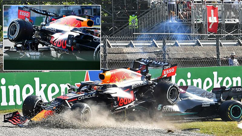 Formula 1'de korkutan kaza: Max Verstappen, Hamilton'ın üstüne çıktı!