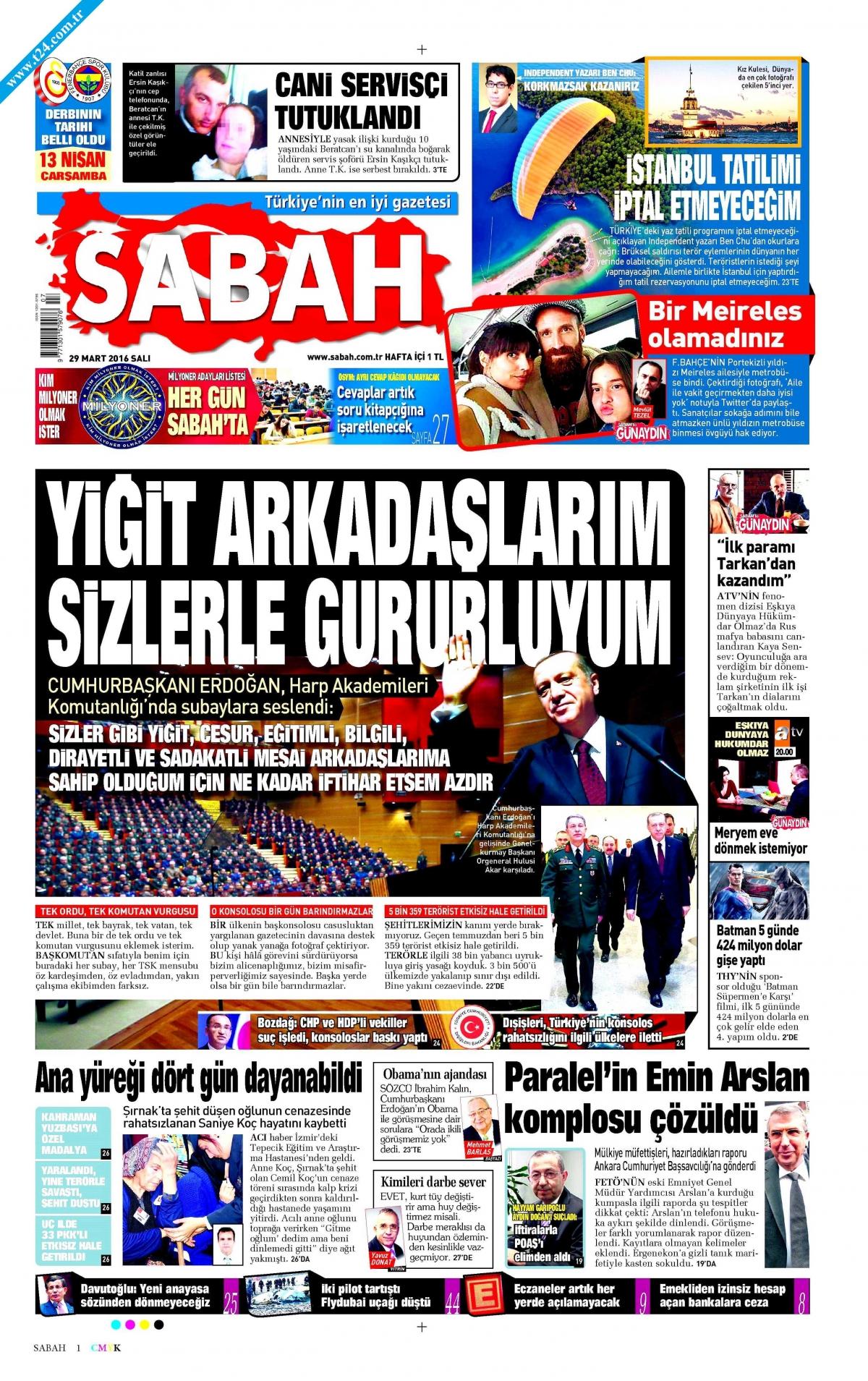 Sabah gazetesinin dünkü (29 Mart 2016) başsayfası